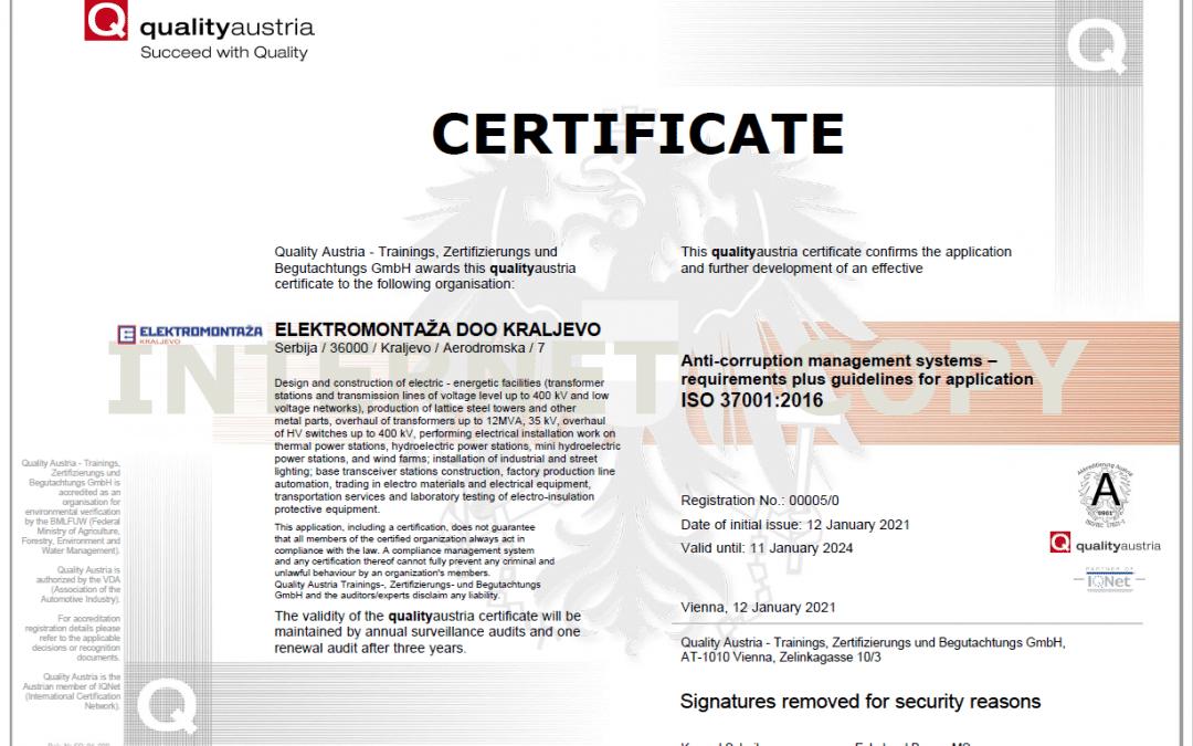 Elektromontaža erhielt ein Zertifikat für die Implementierung von Standards gegen Bestechung und Korruption